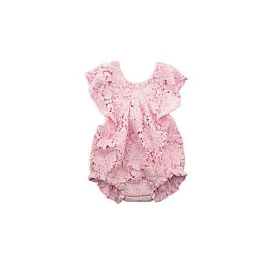 Kidding Around Lace Ruffle Bodysuit in Pink