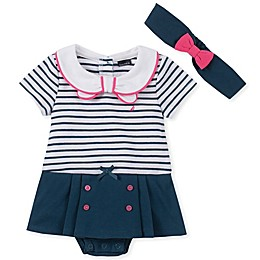 Nautica® 2-Piece Sailor Sunsuit and Headband Set in Navy