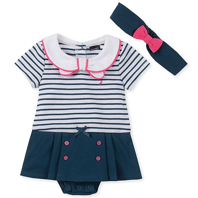 Alternate image 1 for Nautica® 2-Piece Sailor Sunsuit and Headband Set in Navy