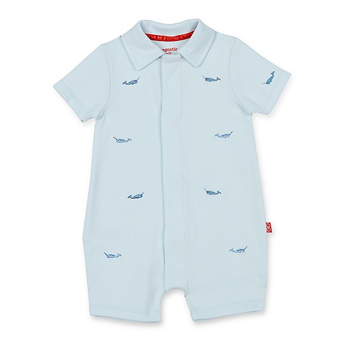 Alternate image 1 for Magnetic Me™ Narwhal Magnetic Modal Romper in Blue