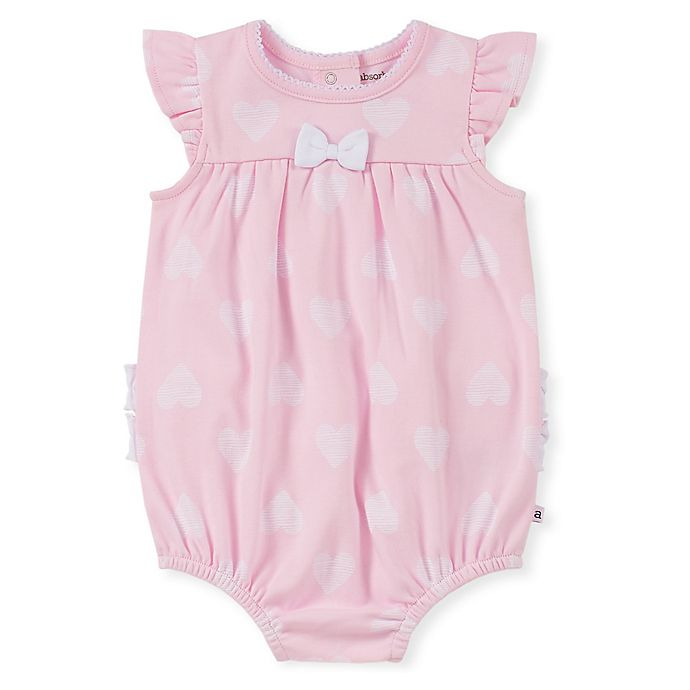 Alternate image 1 for Absorba® Size 0-3M Heart Print Ruffle Romper in Pink