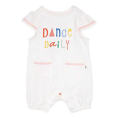 "ED Ellen DeGeneres Pink Stripe ""Dance Daily"" Romper in Natural"
