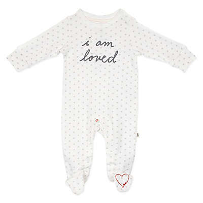 "ED Ellen DeGeneres ""Loved"" Polka Dot Footie in White"