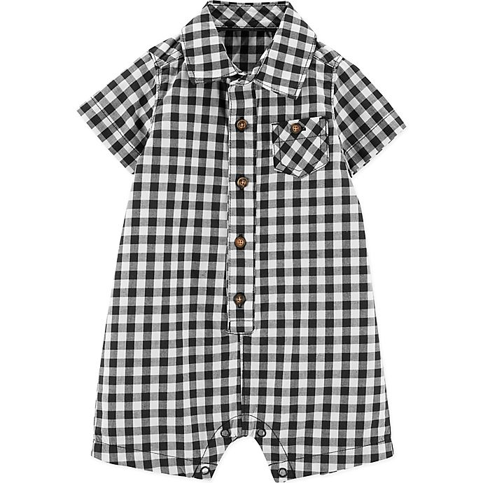 Alternate image 1 for carter's® Gingham Romper in Black/White
