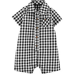 carter's® Gingham Romper in Black/White