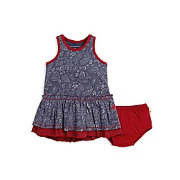 2-Piece Paisley Organic Cotton Dress and Diaper Cover Set in Blue