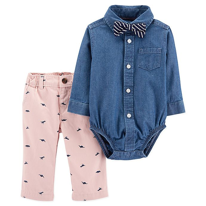 Alternate image 1 for carter's® Newborn 3-Piece Dressy Chambray Set in Navy/Pink