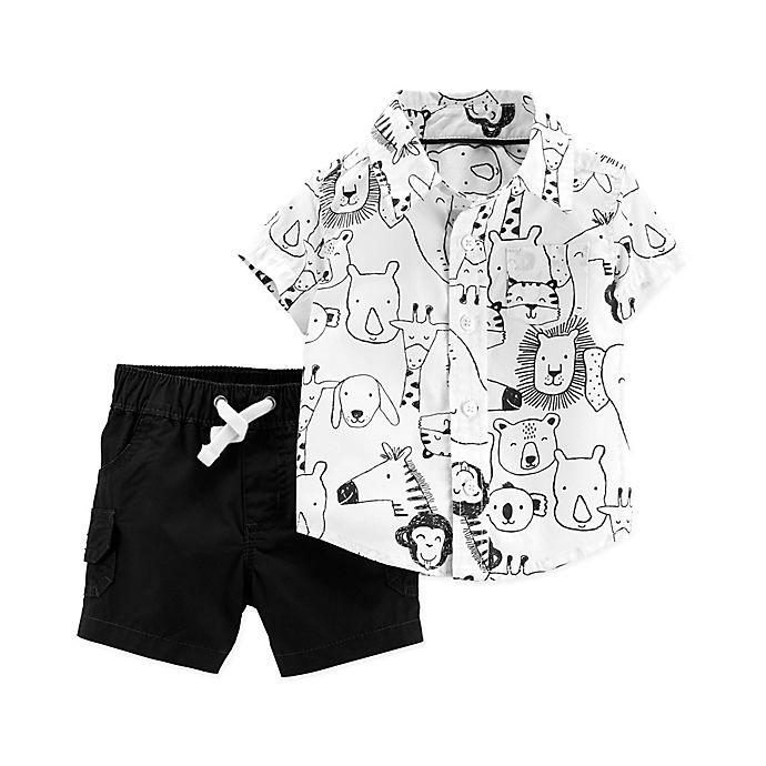 Alternate image 1 for carter's® 2-Piece Safari Animal Set in Black/White