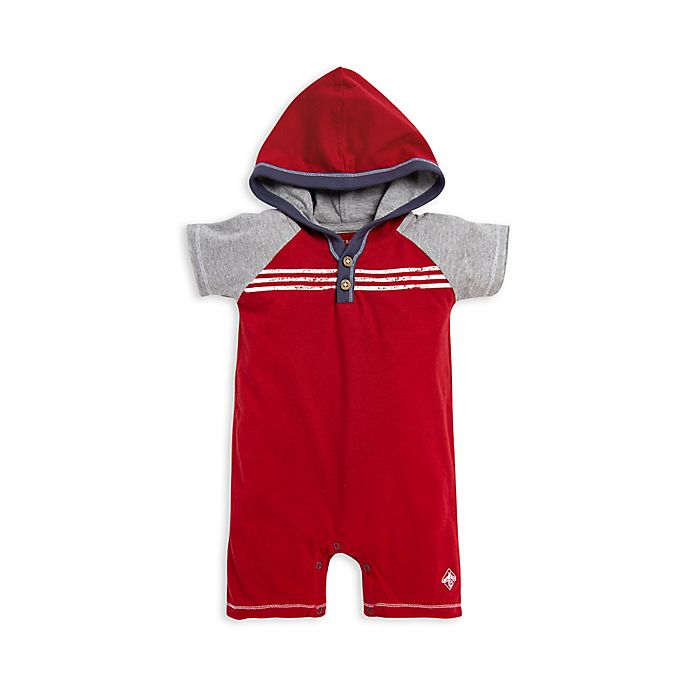 Alternate image 1 for Burt's Bees Baby® Raglan Hooded Romper in Red