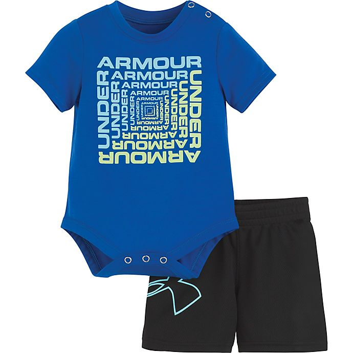 Alternate image 1 for Under Armour® 2-Piece Twist Bodysuit and Short Set in Blue