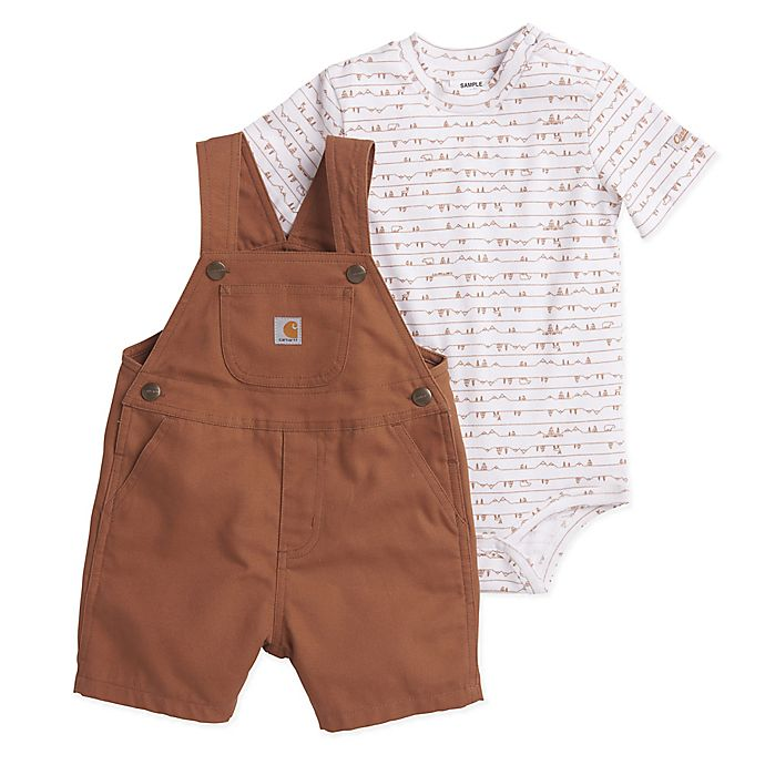Alternate image 1 for Carhartt® 2-Piece Mountains Bodyshirt and Shortall Set in Brown