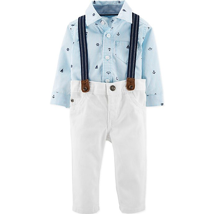 Alternate image 1 for carter's® 3-Piece Dressy Stripe Suspenders Set in Blue/White