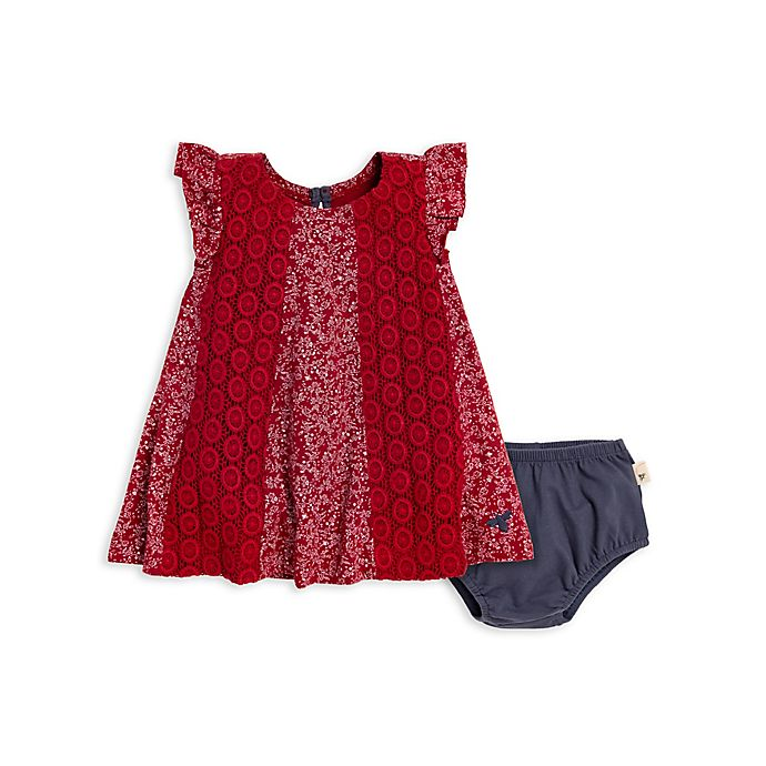 Alternate image 1 for Burt's Bees Baby® 2-Piece Crochet Floral Dress and Panty Set