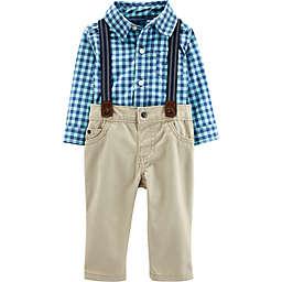carter's® 3-Piece Dressy Plaid Suspenders Set in Blue/Khaki