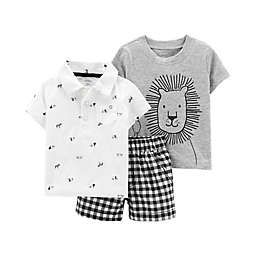 carter's® 3-Piece Lion Shorts Set in Black/White