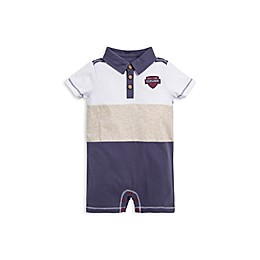 Burt's Bees Baby® Adventure Polo Shortall in White/Multi