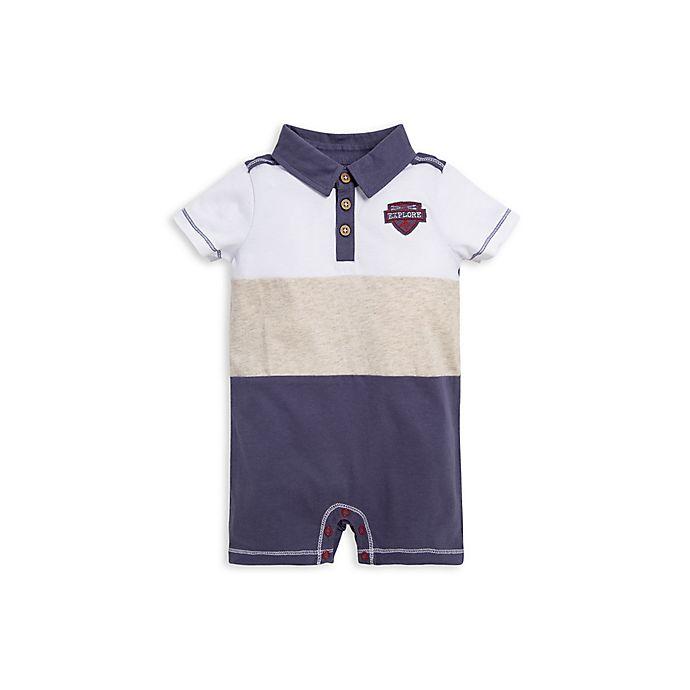 Alternate image 1 for Burt's Bees Baby® Adventure Polo Shortall in White/Multi