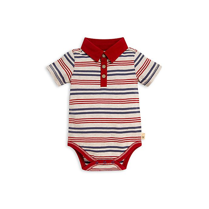 Alternate image 1 for Burt's Bees Baby® Camping Stripe Polo Bodysuit in Red