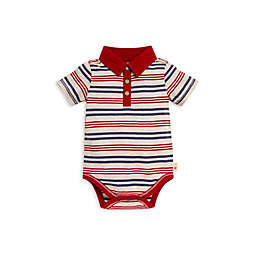 Burt's Bees Baby® Camping Stripe Polo Bodysuit in Red