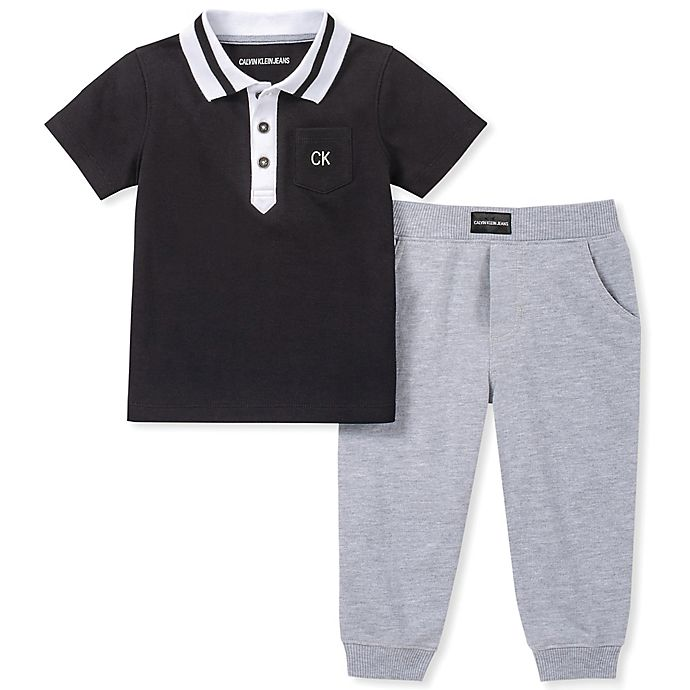 Alternate image 1 for Calvin Klein® 2-Piece Polo Shirt and Jogger Pant Set in Black