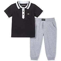 Calvin Klein® 2-Piece Polo Shirt and Jogger Pant Set in Black