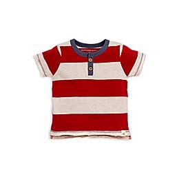 Burt's Bees Baby® Rugby Stripe Henley Tee in Red/Cream