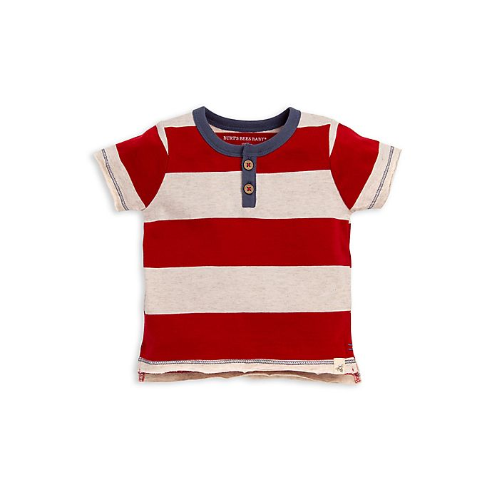 Alternate image 1 for Burt's Bees Baby® Rugby Stripe Henley Tee in Red/Cream
