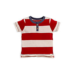 Burt's Bees Baby® Rugby Stripe Henley Tee in Red/Cream