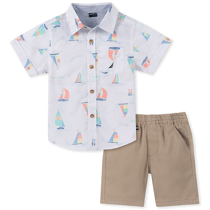 Alternate image 1 for Nautica® 2-Piece Sailboat Button-Down Shirt and Short in White