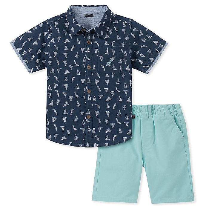 Alternate image 1 for Nautica® 2-Piece Sailboat Shirt and Shorts Set in Navy/Aqua