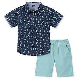 Nautica® 2-Piece Sailboat Shirt and Shorts Set in Navy/Aqua