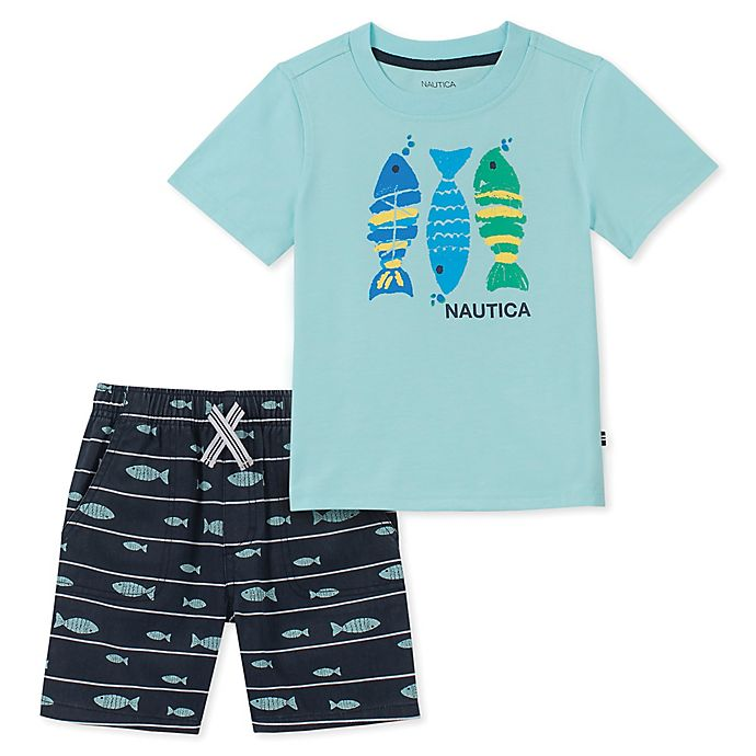 Alternate image 1 for Nautica® 2-Piece Fish Shirt and Short Set in Mint