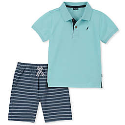 Nautica® 2-Piece Polo Short Set in Aqua