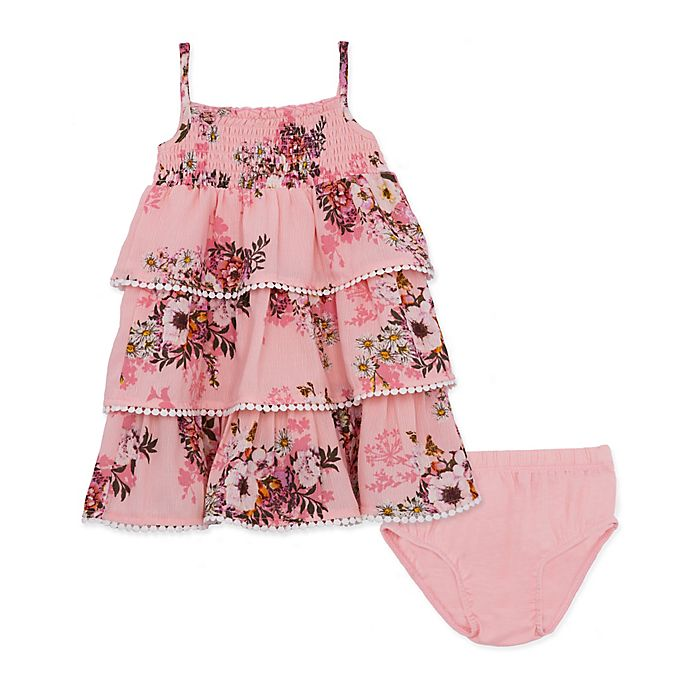 Alternate image 1 for 2-Piece Ruffle Floral Dress with Diaper Cover in Rose