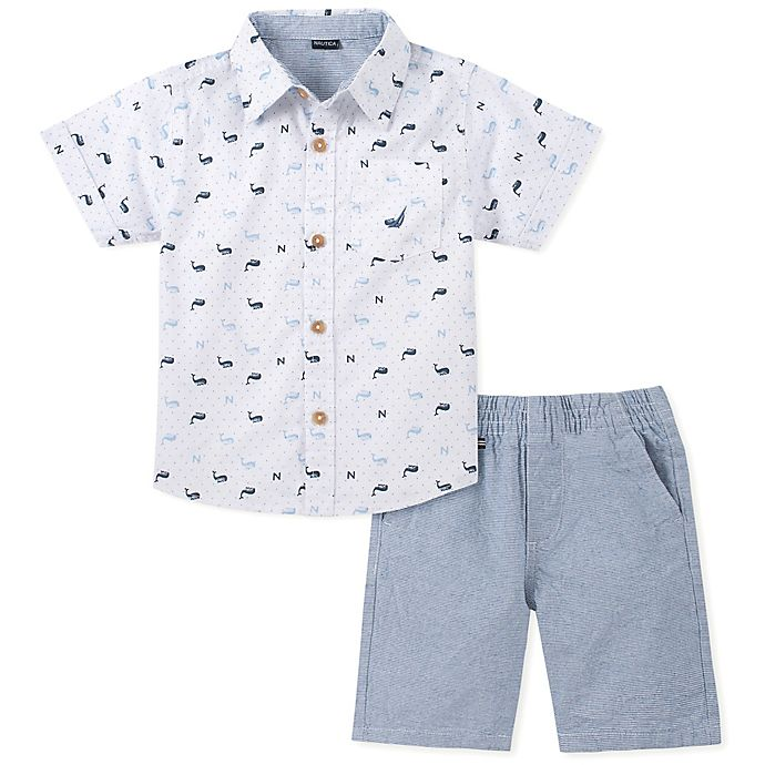 Alternate image 1 for Nautica® 2-Piece Whale Shirt and Shorts Set