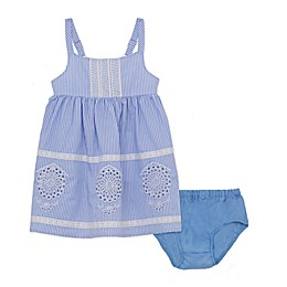 2-Piece Stripe Lace Dress and Diaper Cover Set in Chambray