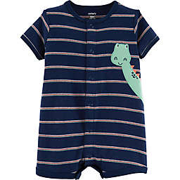 carter's® Striped Dinosaur Romper in Navy