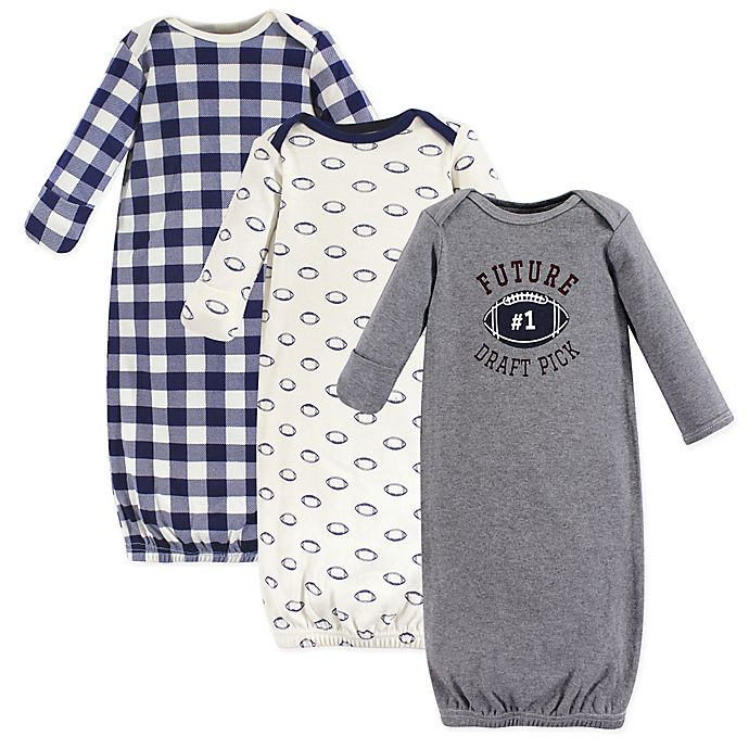 Alternate image 1 for Hudson Baby® Size 0-6M 3-Pack Football Gowns