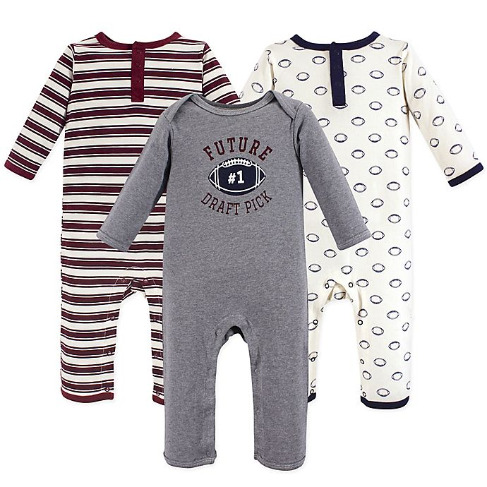 Alternate image 1 for Hudson Baby® 3-Piece Football Coveralls in Red