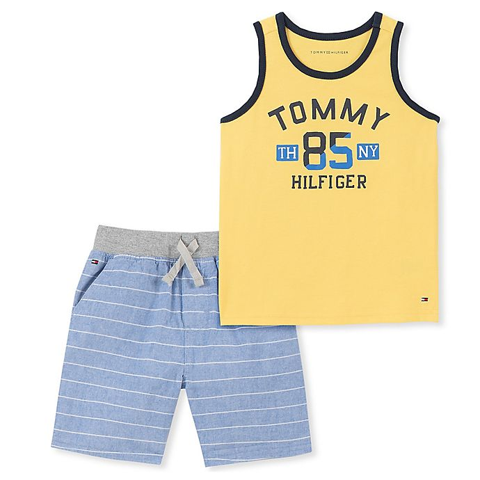 Alternate image 1 for Tommy Hilfiger® 2-Piece Tank Top and Short Set in Yellow/Blue