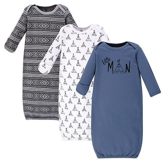 Alternate image 1 for Yoga Sprout® 3-Piece Little Man Gown Set