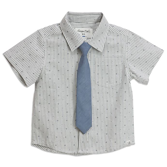 Alternate image 1 for Sovereign Code® Geometric Stripe Button Up Shirt With Tie in Grey