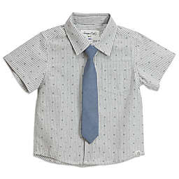 Sovereign Code® Geometric Stripe Button Up Shirt With Tie in Grey