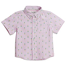 Sovereign Code® Pineapple Short Sleeve Button Up Shirt in Pink