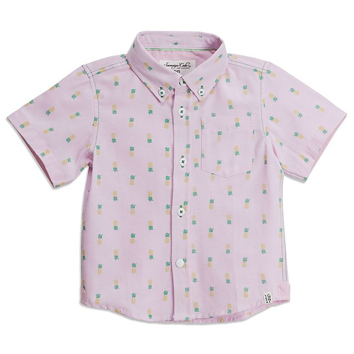 Alternate image 1 for Sovereign Code® Pineapple Short Sleeve Button Up Shirt in Pink