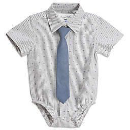 Sovereign Code® Geometric Stripe Button Up Bodysuit With Tie in Grey