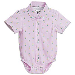 Sovereign Code® Pineapple Short Sleeve Button Up Onesie in Pink