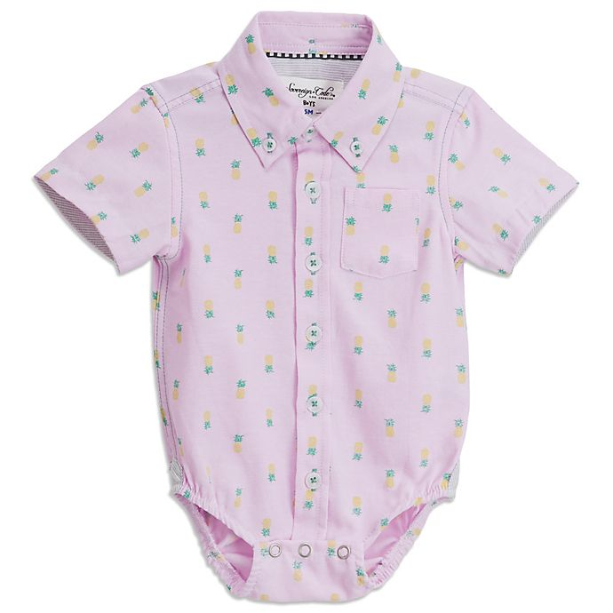 Alternate image 1 for Sovereign Code® Pineapple Short Sleeve Button Up Onesie in Pink