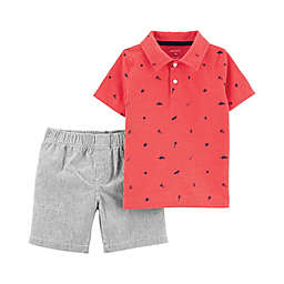 carter's® Schiffli Polo Top & Shorts 2-Piece Set in Orange