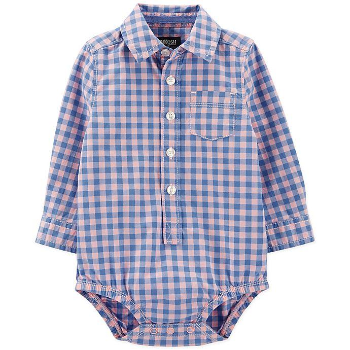 Alternate image 1 for OshKosh B'gosh® Easter Checkered Bodysuit in Blue/Pink
